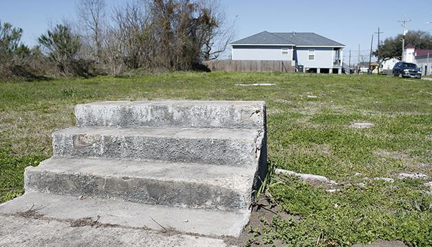 An+abandoned+lot+in+the+Lower+Ninth+Ward+sits+empty+with+the+exception+of+cement+steps.+While+most+of+the+area+remains+untouched+nine+and+a+half+years+after+Hurricane+Katrina%2C+some+residents+and+businesses+are+returning+to+the+Ninth+Ward.