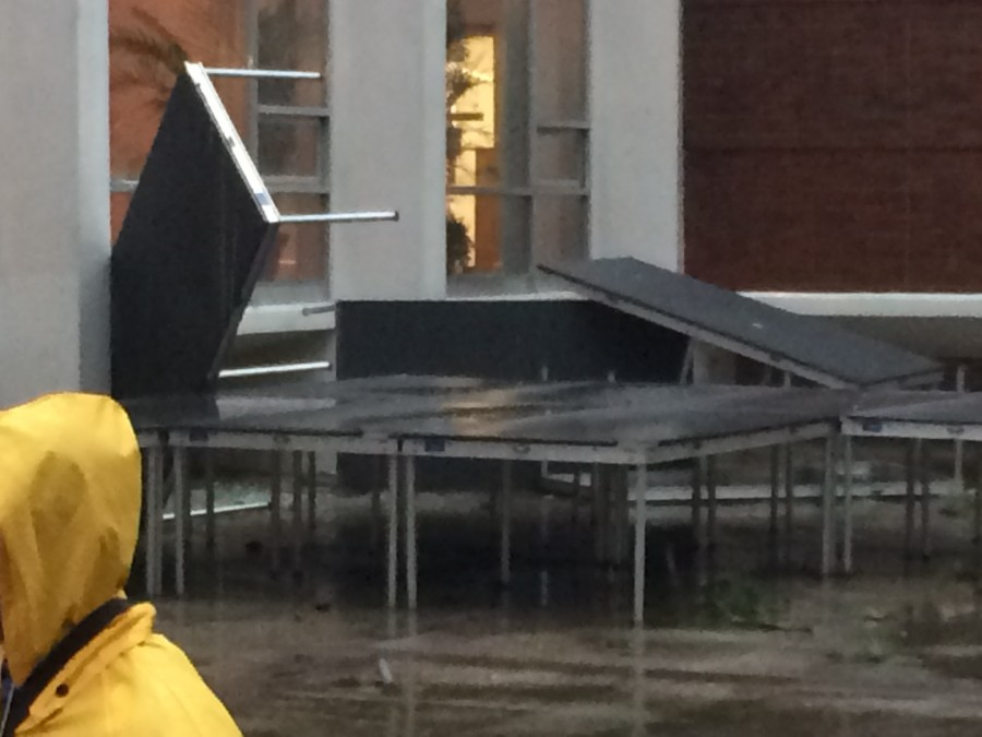 Storms tear through campus Monday morning