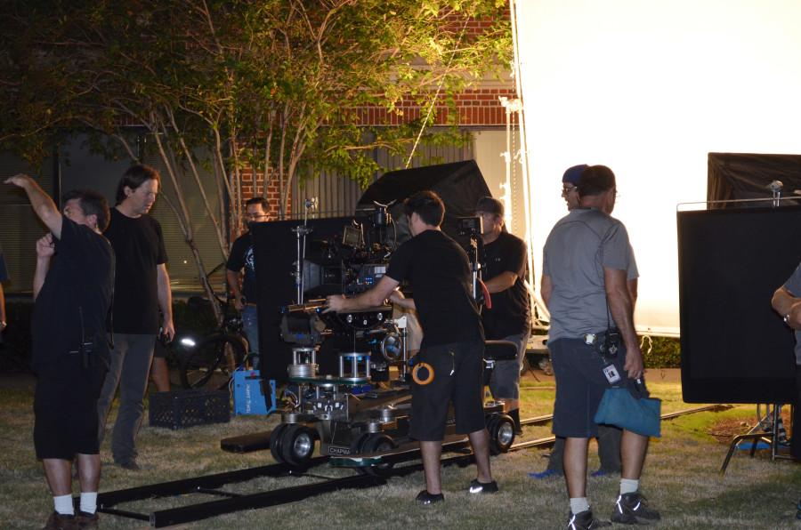 Production crews set up on campus