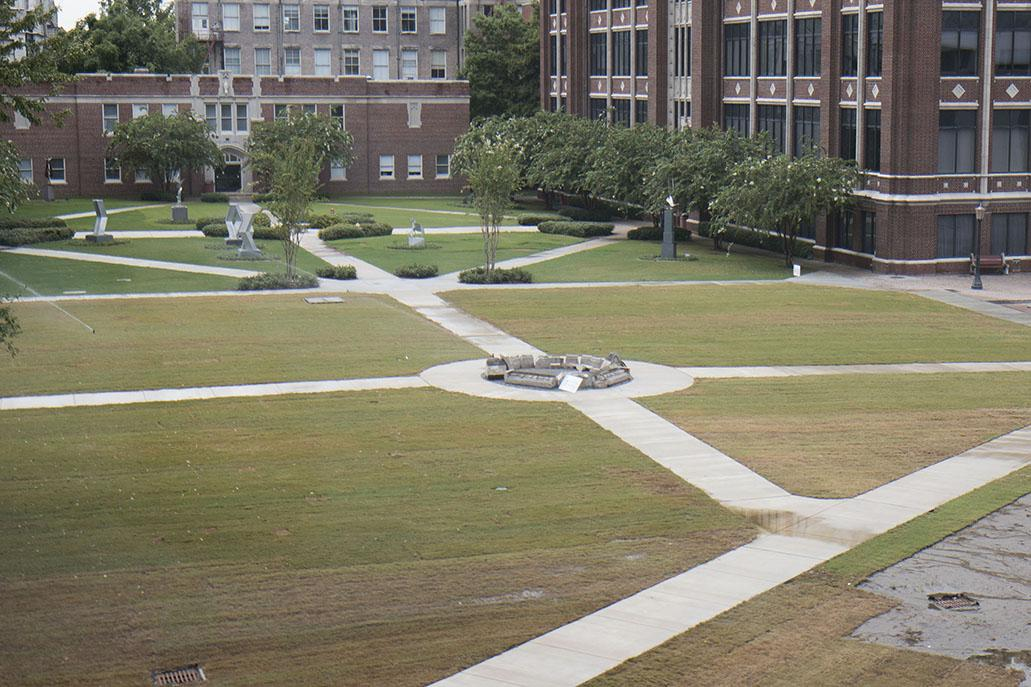 Loyola created new green space between Bobet and Marquette hall. They created the green space after Thomas Hall was torn down in the spring. Photo credit: Zach Brien