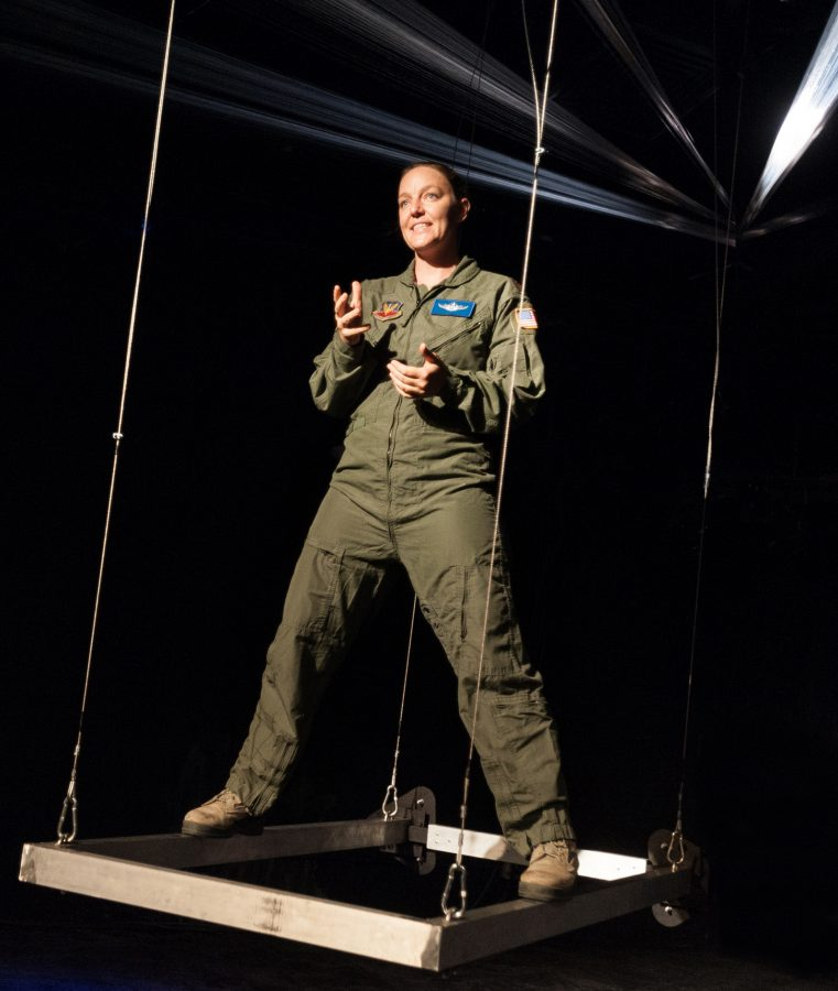 """Kerry Cahill looks to the sky in Southern Rep's production of """"Grounded"""""""