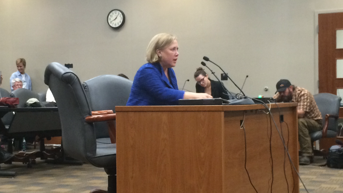 Former U.S. Sen. Mary Landrieu speaks in favor of the Bayou Bridge pipeline. Energy Transfer, who hopes to build the line, is the same company involved with the Dakota Access pipeline. Photo credit: Nick Reimann
