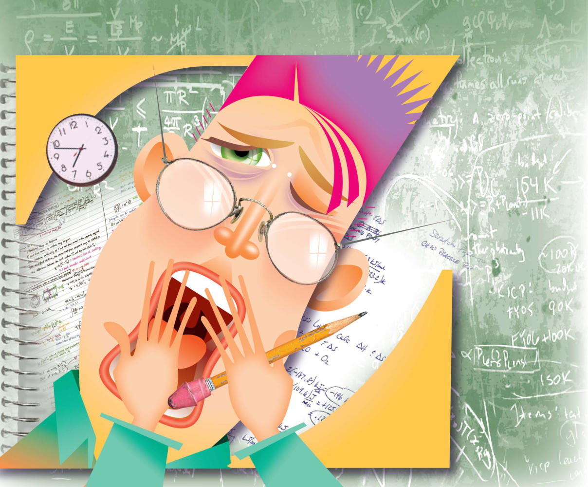 Laurie McAdam color illustration of yawning student with notebooks and chalkboard equations, tired from all night study session. The Modesto Bee 2008<p>