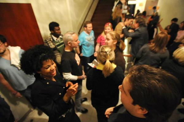 """The cast and crew of """"Godspell"""" meet with the audience outside of Marquette Theater after their performance. Students and faculty have been awarded best university production at the Big Easy Awards."""