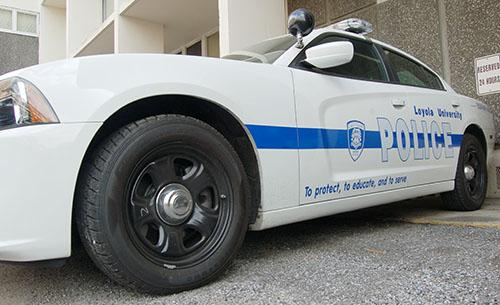 LUPD's patrol car sits outside Loyola's police station. The car will be used to patrol the Uptown area at night.