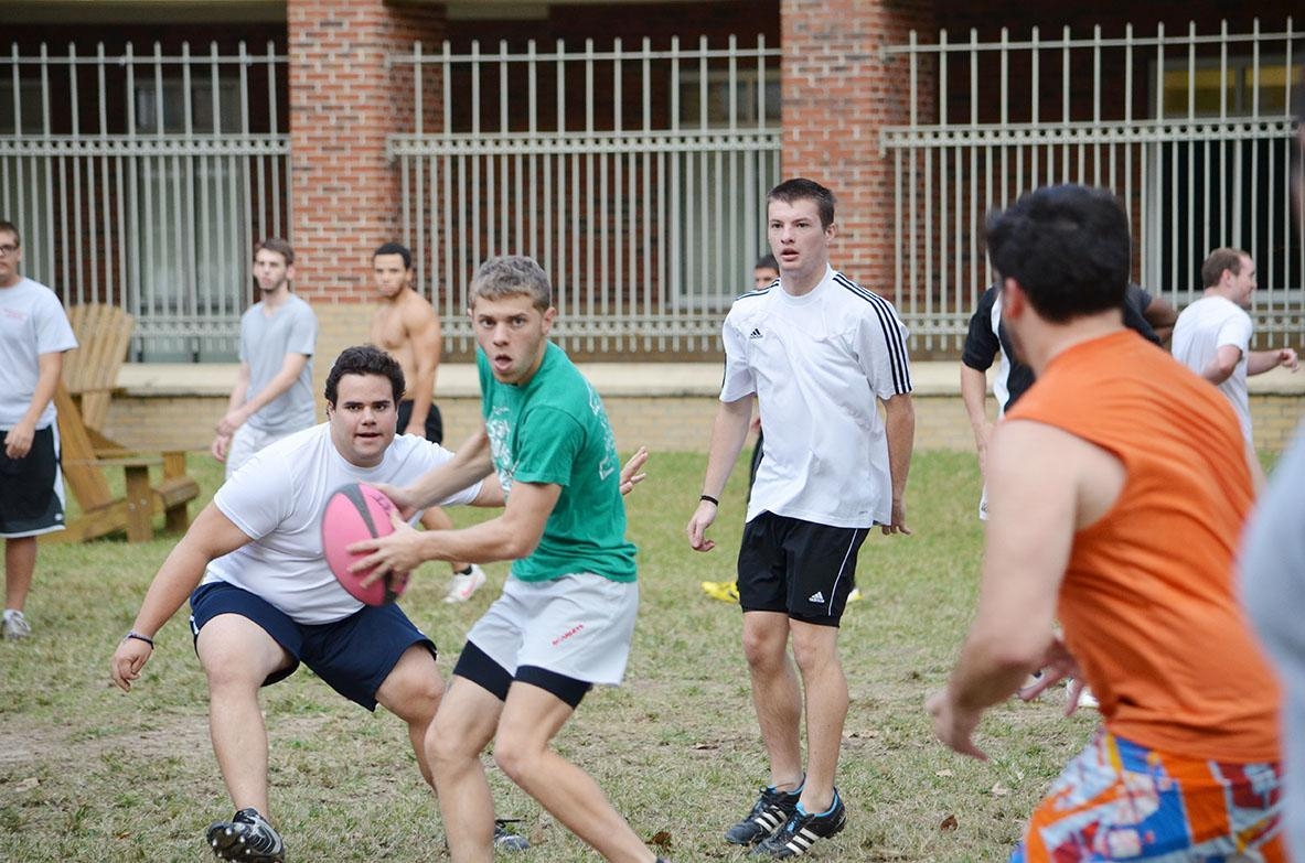 The rugby team practices in the res quad after dominating South Alabama. The rugby team beat South Alabama 56 to 5 in its first game.