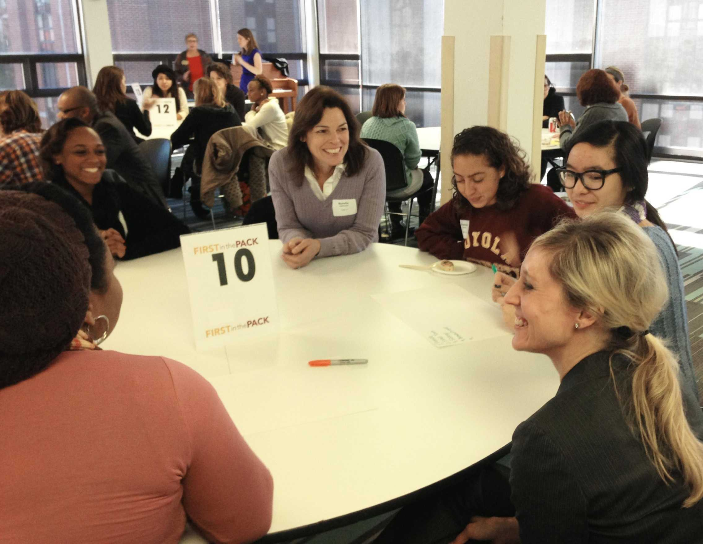 Alicia Bourque, director of the University Counseling Center and Health Services, meets with her peer mentee and other faculty, staff and peer mentors at the monthly dialogue that was held for First in the Pack on Jan. 17. The monthly dialogue was the first of four for First in the Pack.