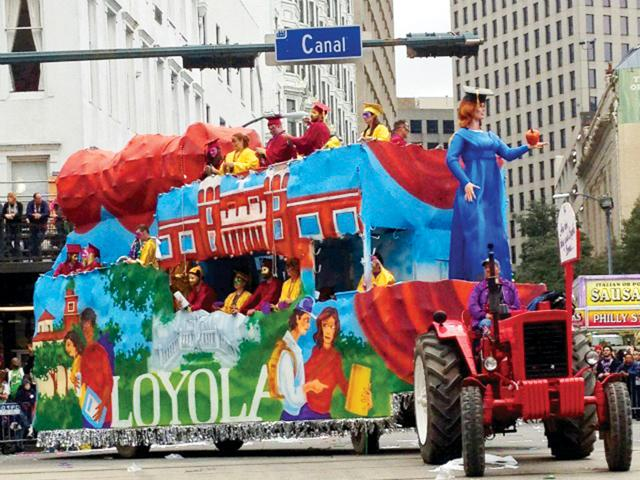 Loyola%E2%80%99s+centennial+float+rolled+in+the+Krewe+of+Tucks+parade+on+the+Saturday+before+Mardi+Gras.+The+float%2C+which+featured+Loyola-themed+art%2C+honored+the+university%E2%80%99s+100-year+anniversary.