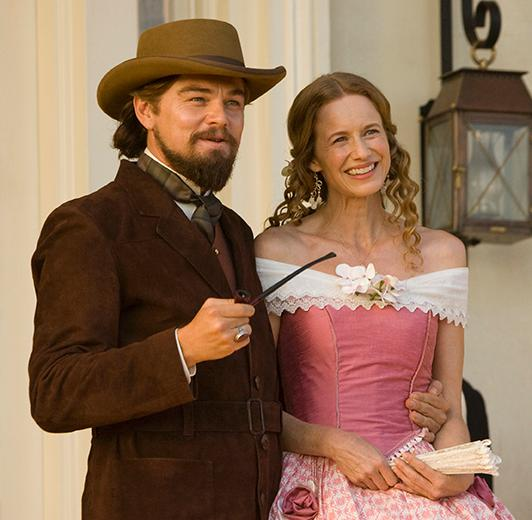 "Actress Laura Cayouette on the set of ""Django Unchained"" with Leonardo Dicaprio. Cayouette played Dicaprio's sister Lara Lee in the film about a slave who becomes a bounty hunter."