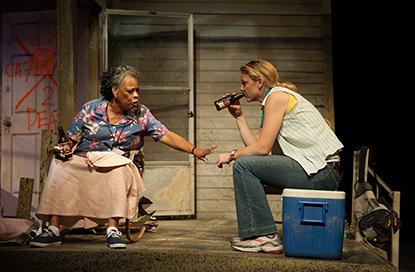 "Carol Sutton as Amelia Delachaise and Kerry Cahill as Marie Giudry exchange Hurricane Katrina evacuation stories. ""Mold"", written by English Professor John Biguenet, is the fi nal play in a trilogy about the storm."