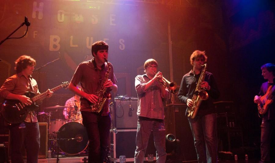 Jazz+studies+junior+Bill+Daniel%2C+jazz+studies+senior+Nick+Ellman%2C+music+industry+senior+John+Culbreth+and+jazz+studies+senior+Ian+Bowman+perform+at+the+House+of+Blues.+%E2%80%9CUntil+Next+Time%E2%80%9D+is+the+band%E2%80%99s+second+album.