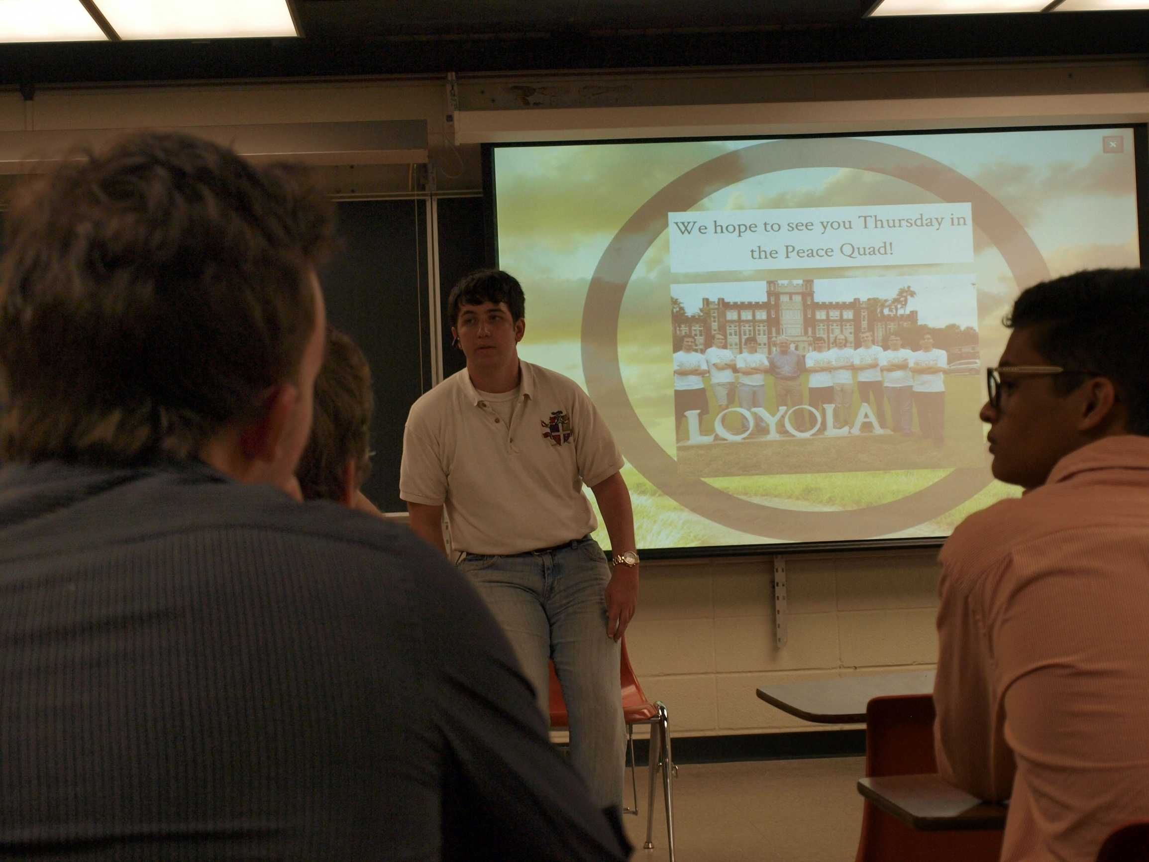 Adam Dupuis, Sigma Alpha Kappa president and criminal justice junior, talks to potential members on Tuesday, Sept. 24. The recruitment process began on Wednesday, Sept. 25.