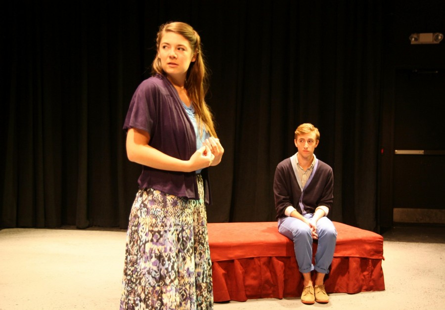 Theatre+arts+senior+Natalie+Jones+and+mass+communication+senior+Blaine+Simon+practice+in+the+Lower+Depths+Theater+before+%E2%80%9CPatient+A%E2%80%9D+opens+this+weekend.+The+play+runs+from+Sept.+27-29+and+from+Oct.+3-5.