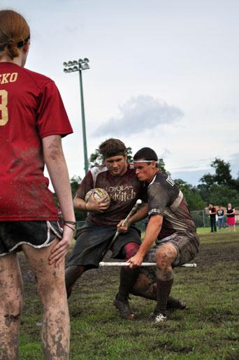 A Loyola Player collides with a player from Texas A&M in a game on Oct.19 th. Loyola Quidditch finished second in last year's World Cup for Division II teams.