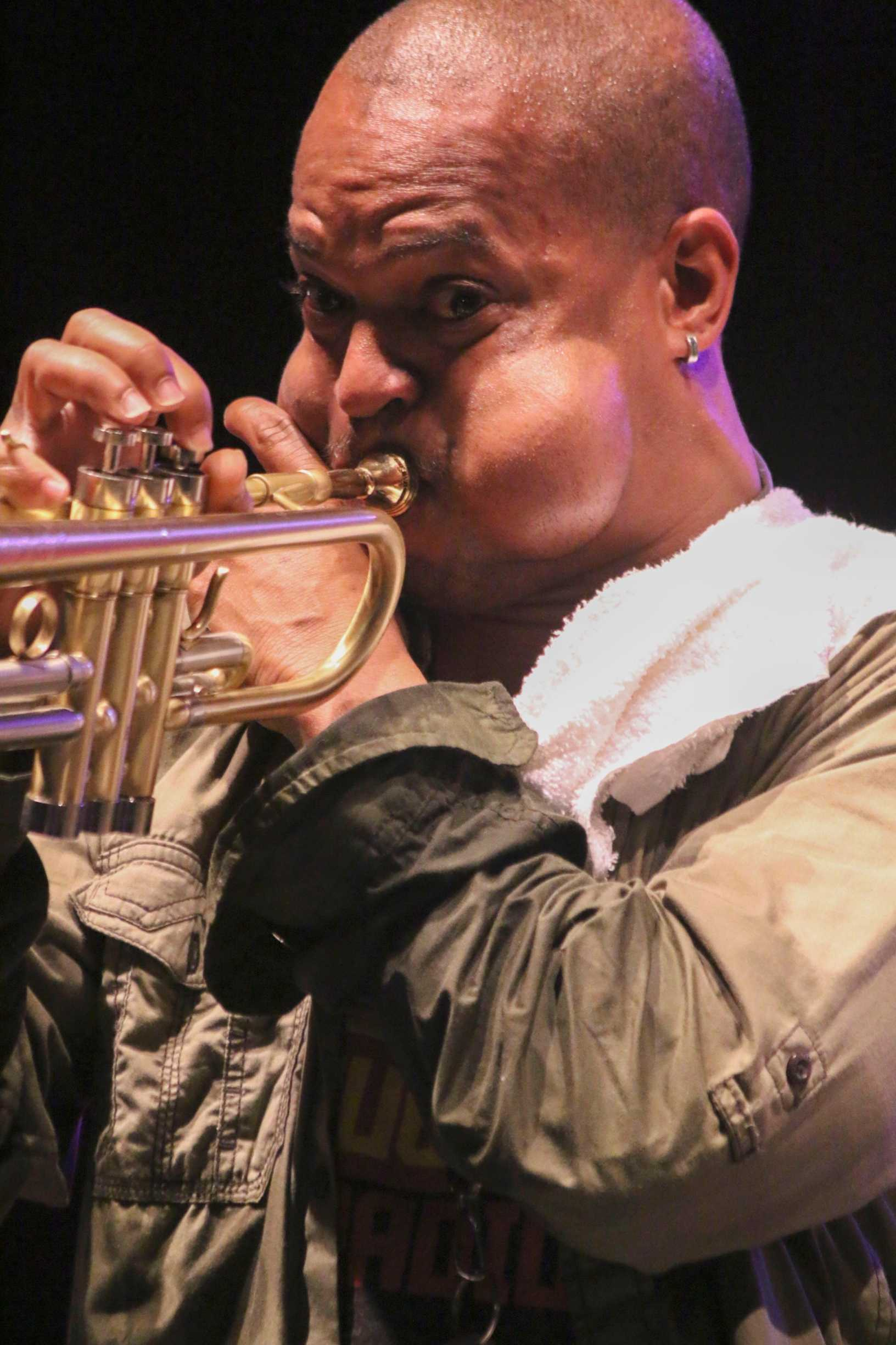 Derrick Shezbie of the Rebirth Brass Band played Friday, April 10 at French Quarter Festival on the Abita Beer stage.