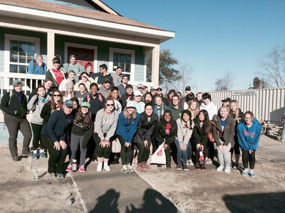 The different Greek organizations work on homes during Greek Week. They partnered with Habitat for Humanity in the 9th Ward.
