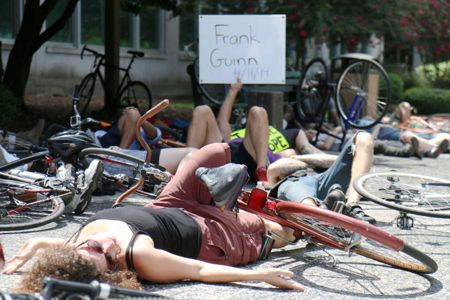 Cyclists+prostrate+themselves+in+front+of+City+Hall+as+part+of+a+die-in+protest+on+July+23.+This+protest+was+part+of+a+call+for+bicycle-friendly+laws+and+infrastructure+in+the+city+of+New+Orleans+and+an+overall+awareness+of+cyclists%27+rights+on+the+road.+