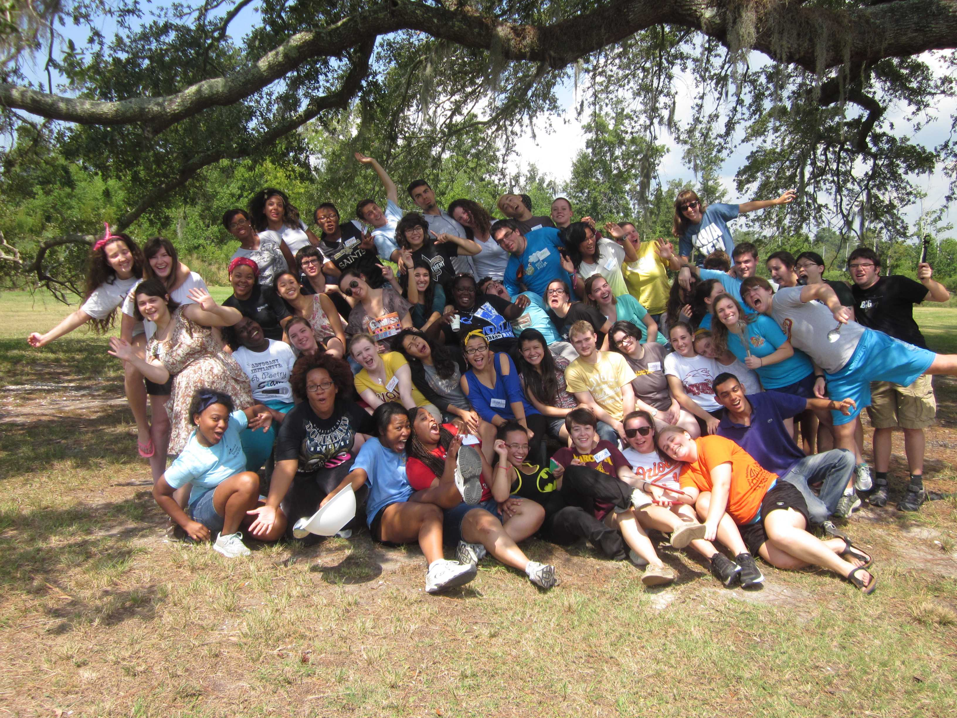 Freshmen and seniors from last year's first-year retreat pose for a photo at the Fountainbleau State Park. This year, the retreat will be held at the same location.