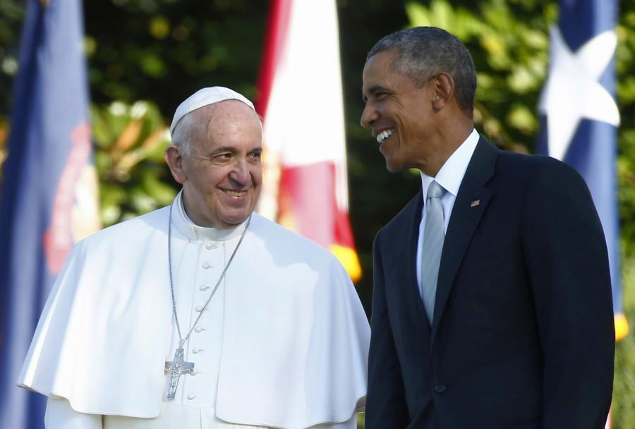 President+Barack+Obama+talks+with+Pope+Francis+during+a+state+arrival+ceremony+on+the+South+Lawn+of+the+White+House+in+Washington%2C+Wednesday%2C+Sept.+23.+The+Pope+will+depart+for+Rome+on+Sept.+27.+%28Tony+Gentile%2FPool+Photo+via+AP%29