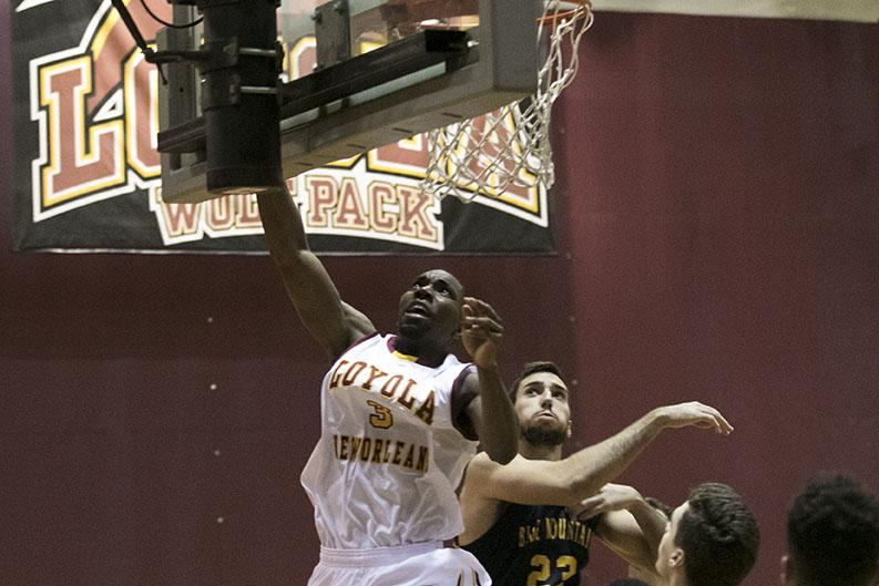 Loyola junior guard Johnny Griffin Jr. makes a layup in the first half against Blue Mountain College in the Den. Their 54-46 victory ends a two game losing skid, bringing their overall record to 8-8.