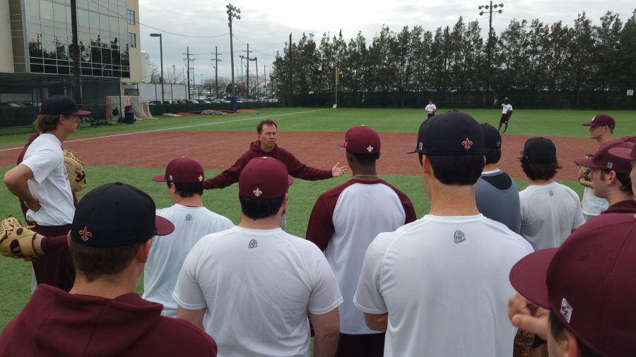 Doug+Faust%2C+head+coach%2C+addresses+the+Loyola+baseball+team+at+a+team+practice+at+Segnette+Field.+The+baseball+team+has+a+record+of+18-25+on+the+season+and+plays+their+next+game+in+Mobile%2C+Alabama+against+the+University+of+Mobile+on+April+15+at+6+p.m.