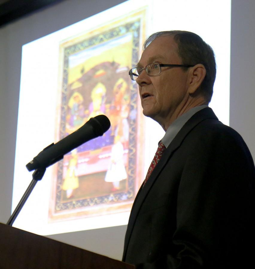 Dr.+Timothy+Cahill%2C+associate+religion+professor%2C+presents+his+work+on+precolonial+indian+literature.+The+lecture+was+a+part+of+the+the+H.+James+Yamauchi%2C+S.J.%2C+Lectures+in+Religion+series+for+the+spring+of+2016.