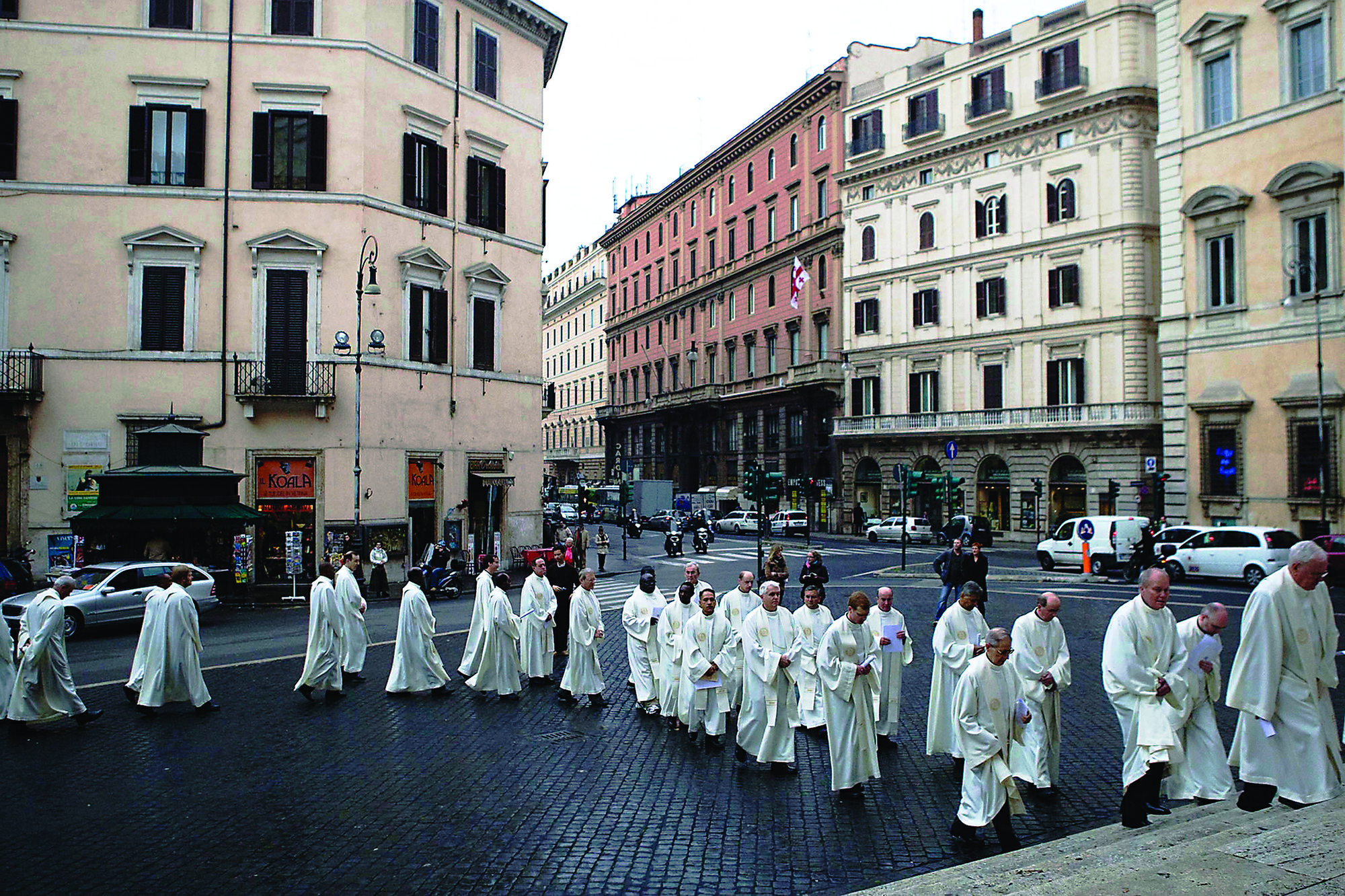 Jesuits process through the streets of Rome to celebrate Mass together at General Congregation 35 in 2008, when the Rev. Adolfo Nicolas, S.J., was elected superior general. The Jesuits will convene General Congregation 36 on Oct. 2 to elect Nicolas' successor. (Image credit: General Congregation 35)