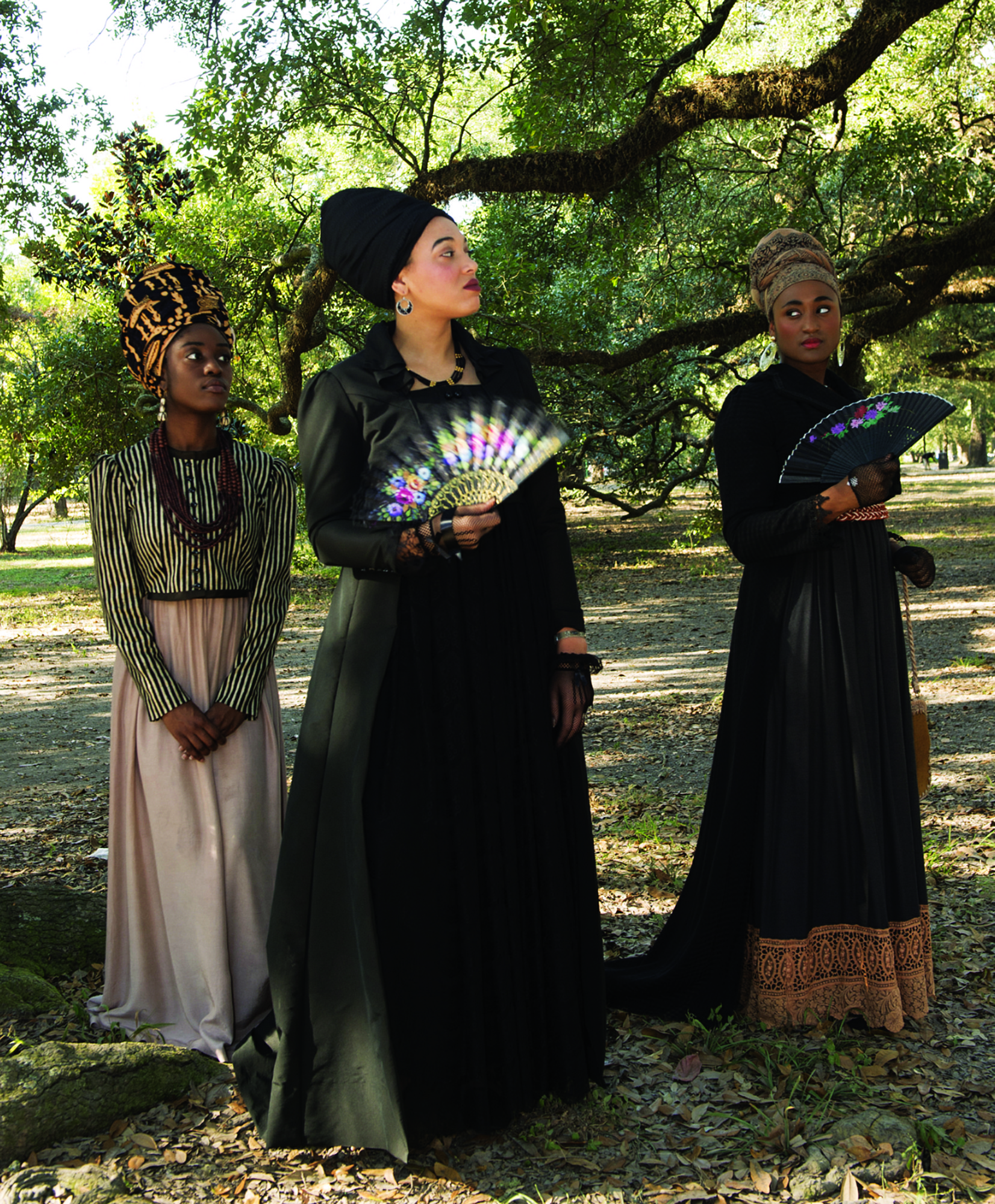 Asia Allen as Le Veuve, Saisha Lee as Makeda, and Kelsey Reine as Beatrice in costume for House That Will Not Stand, the play they star in along with several others. Photo credit: Kyle Encar