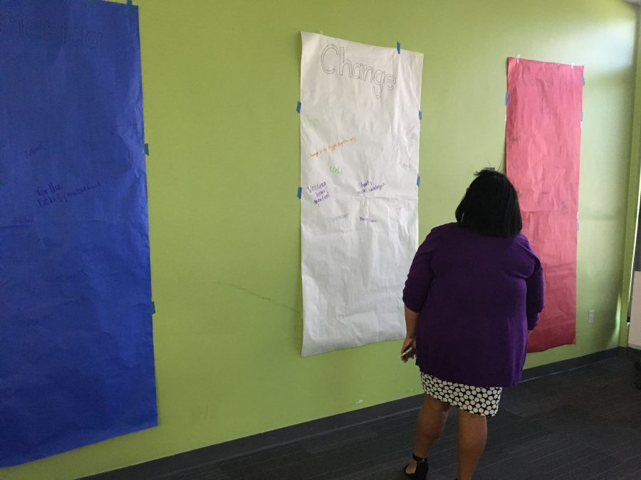 A+participant+in+today%27s+Loyola+community+meeting+discussion+prepares+to+write+her+reaction+to+the+%22buzz%22+words+written+on+six+posters+in+the+Audubon+Room.+The+Department+of+Student+Involvement+intended+for+the+posters+to+be+thought+provoking+prior+to+an+open+discussion+of+feelings+following+Tuesday%27s+presidential+election+results.+Photo+credit%3A+India+Yarborough