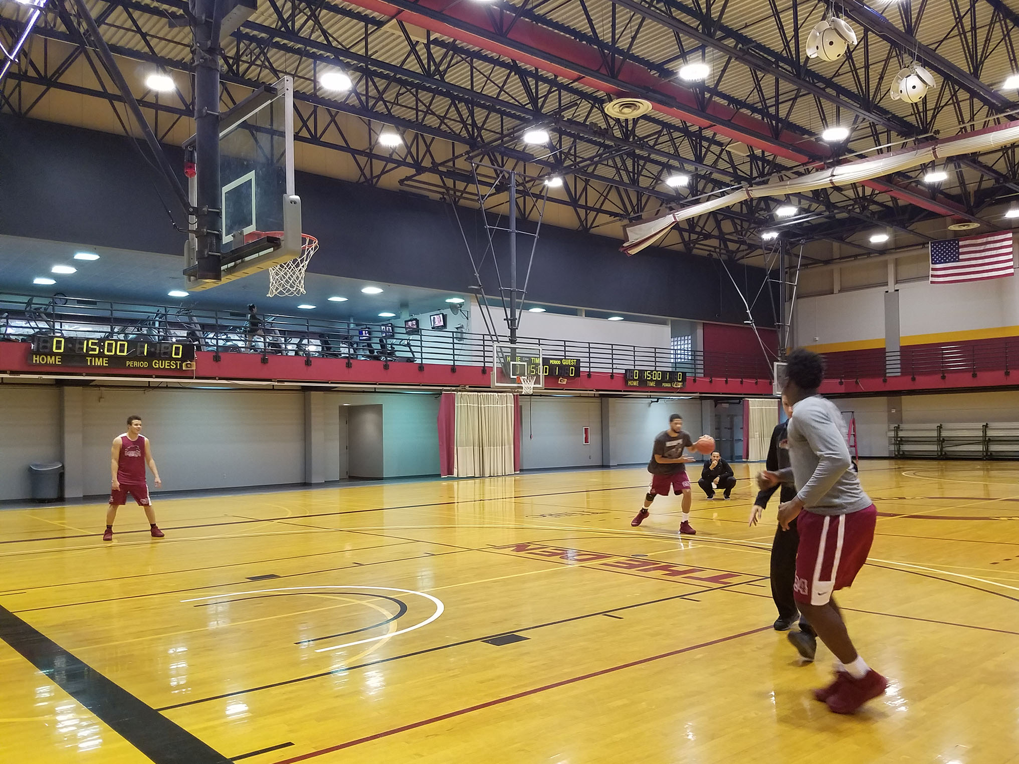 The men's basketball team practices on First NBC court.  The team is off to a strong start this season. Photo credit: Starlight Williams