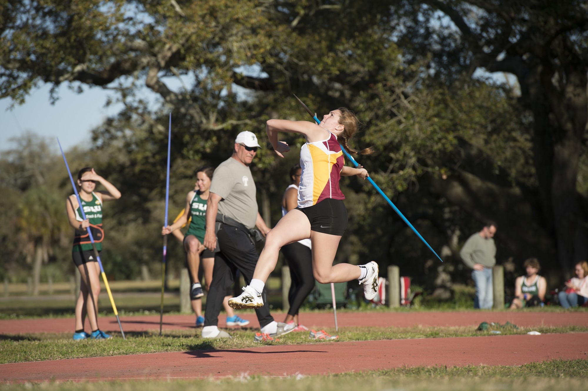 Environmental studies sophomore Shannon Hester throws a javelin at the Tulane Twilight Invitational on March 4, 2016. The Wolf Pack are back on the track on Jan. 27 at the McNeese Indoor Invite. Photo credit: Courtesy of Loyola Athletics