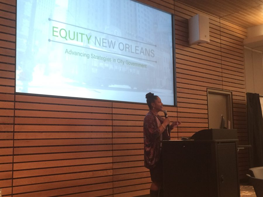 Judy+Reese+Morse%2C+Deputy+Mayor+of+Citywide+Initiatives%2C+speaks+at+the+Equity+New+Orleans+meeting+on+Tuesday%2C+Jan.+17.+The+plan+seeks+to+combat+inequity+in+New+Orleans+by+taking+an+analytic+approach+to+decisions.+Photo+credit%3A+Nick+Reimann
