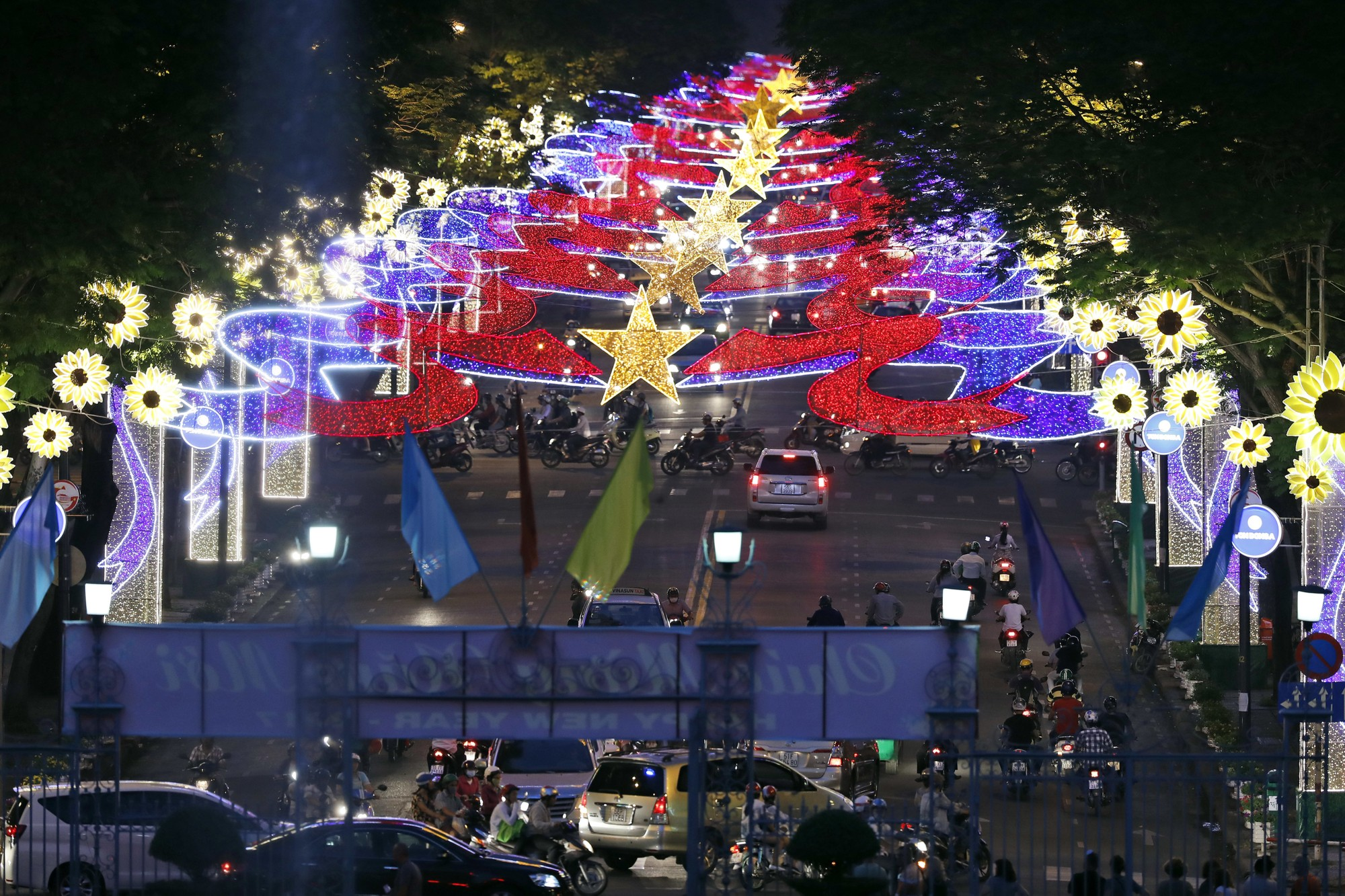 A view of the lights for the upcoming lunar new year's celebration as seen from the Independence Palace, Friday, Jan. 13, 2017 in Ho Chi Minh City, Vietnam. (AP Photo/Alex Brandon, Pool)