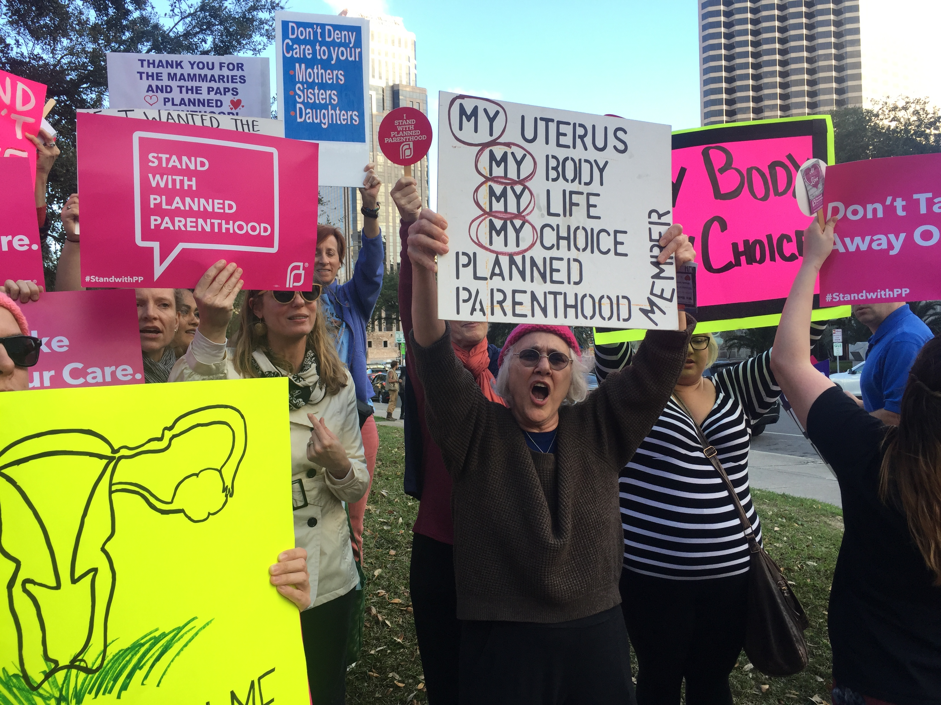 Planned Parenthood supporters chant for pro-choice rights. Nearly 200 people gathered in front of City Hall to defend the organization in response to President Trump's order to defund it. Feb. 10, 2017. Photo credit: Haley Pegg