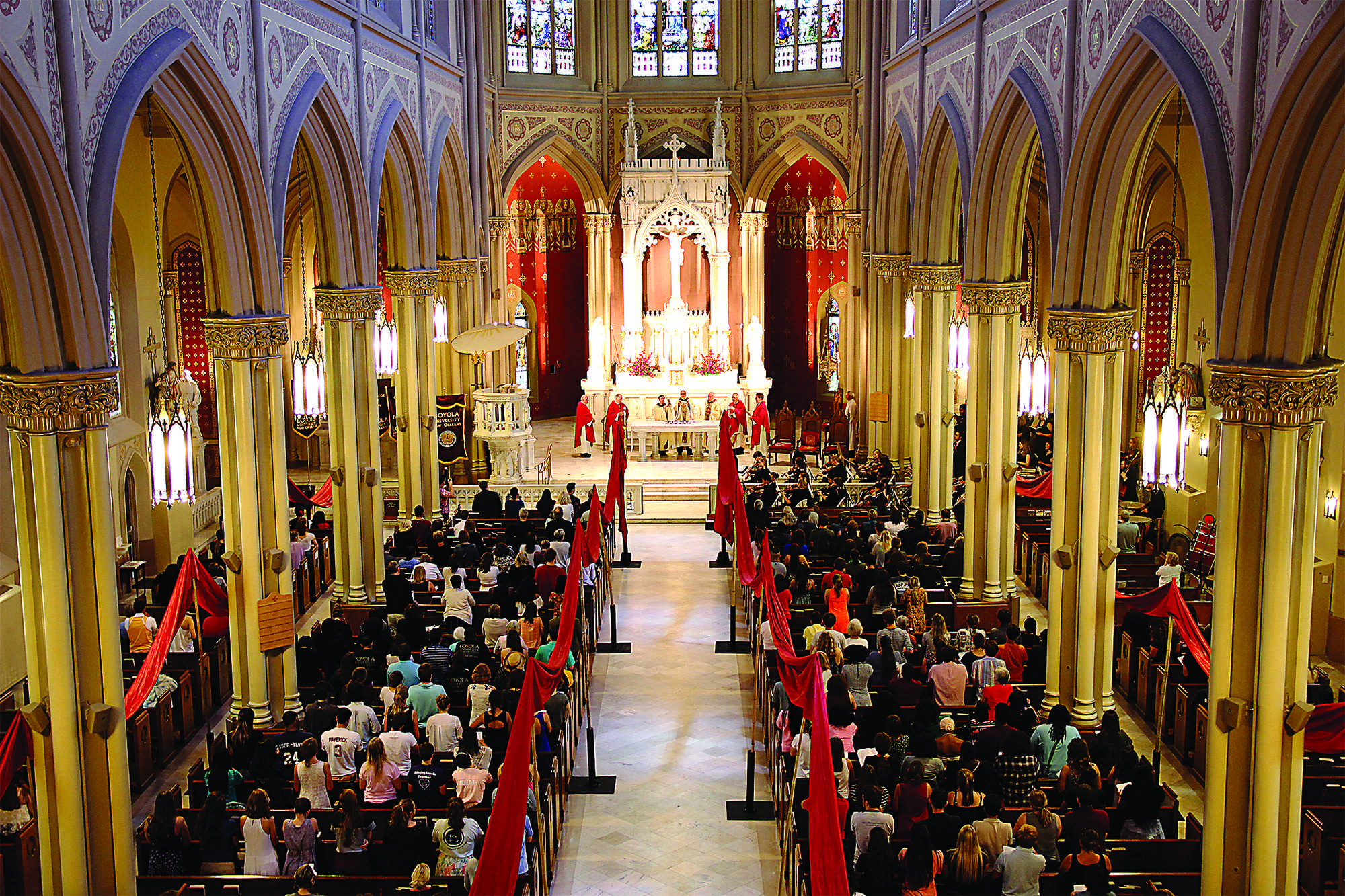 The Loyola community gathers in Holy Name of Jesus Catholic Church for the Mass of the Holy Spirit last fall. Catholics in the area will be able to break their Lenten fast for St. Patrick's Day this year.