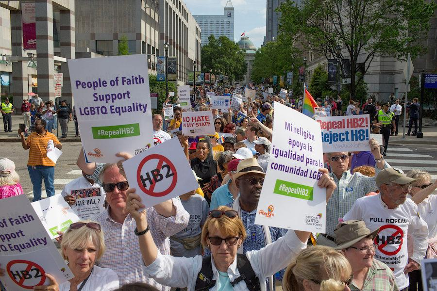 Demonstrators+call+for+the+repeal+of+HB2+in+Raleigh%2C+N.C.%2C+on+April+25%2C+2016.+The+state+marks+the+first+anniversary+the+bill%2C+widely+criticized+as+anti-LGBT%2C+which+has+cost+North+Carolinians+jobs%2C+money%2C+performances+and+events%2C+including+this+month%C3%A2%E2%82%AC%E2%84%A2s+NCAA+basketball+tournament.+%28Jill+Knight%2FRaleigh+News+%26amp%3B+Observer%2FTNS%29