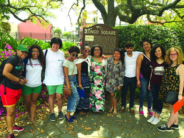 Last year's New Orleans Urban Immersion service group poses in Congo Square in Spring 2016. The Urban Immersion trip is a branch of Ignacio Volunteers that focuses on local community service. (Courtesy of Heather Malveaux)