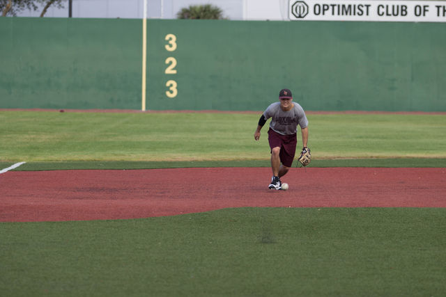Wolf Pack third baseman and junior Spencer Rosenbohm, interceptes a ground ball at the John A. Alario Sr. Event Center baseball diamond in Westwego, on January, 14. Rosenbohm, who is pursuing a physics major said he looked forward to the season. Photo credit: Osama Ayyad