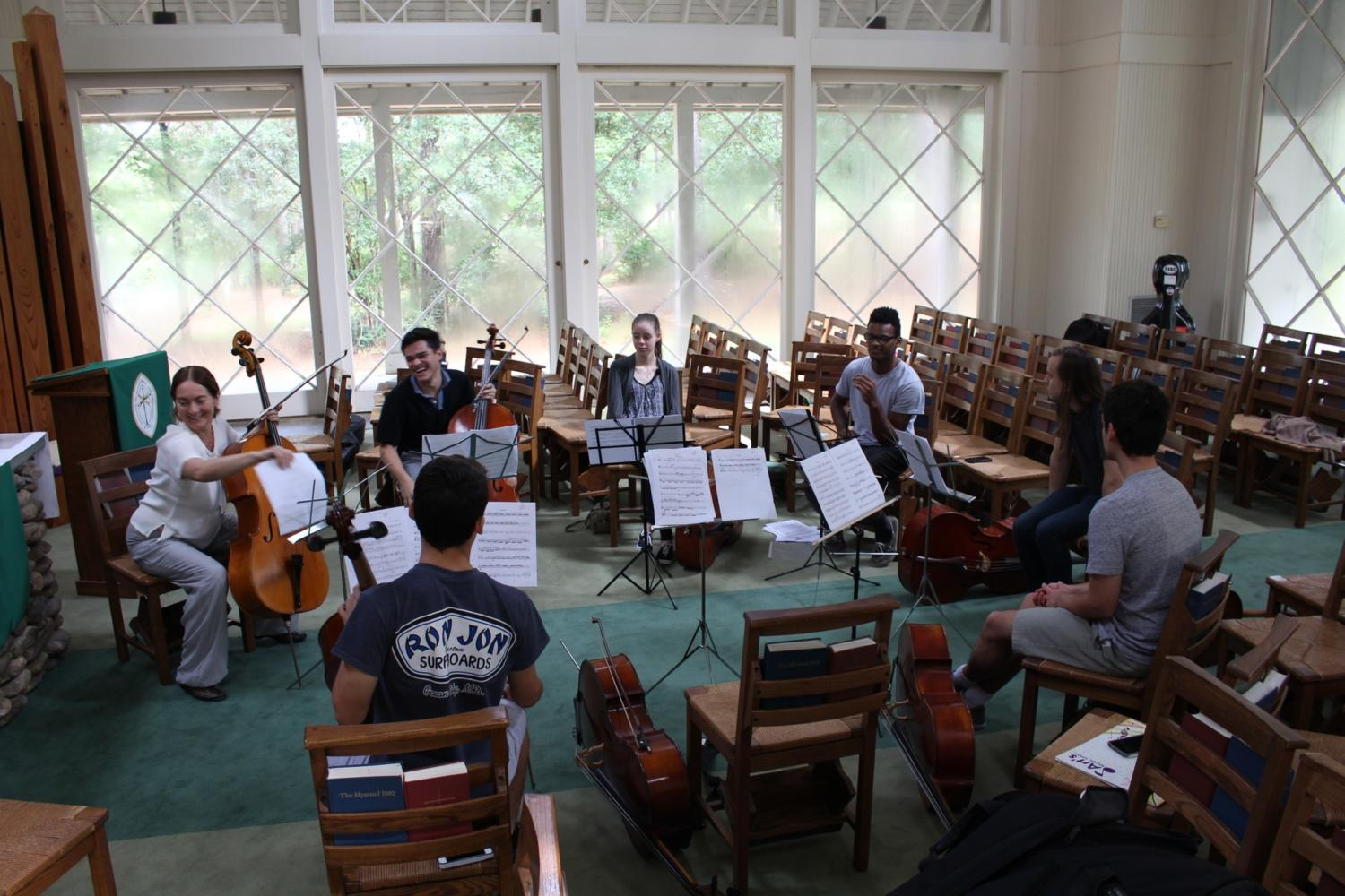 Cello students play at retreat. This retreat is a first for the performance majors. Photo credit: Anna Knapp
