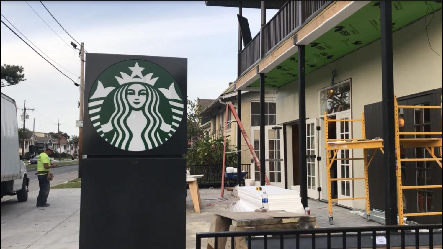 A new Starbucks location is under construction at the corner of Jefferson Avenue and Freret Street.  The sudden influx of chain stores along Freret has been unsettling for some local residents. Photo credit: Mairead Cahill