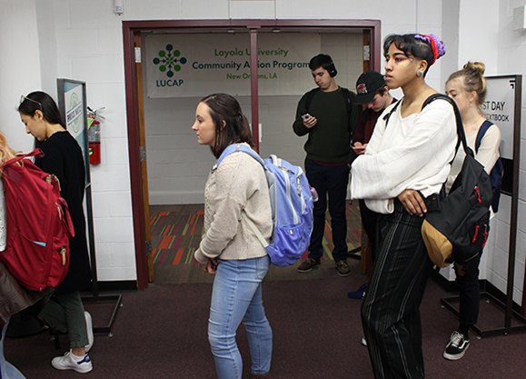 Loyola Students wait in line for textbooks outside the campus bookstore on January 17, 2018. Some students are spending up to $300 to $400 dollars on books needed for classes( USE $300 a semester or $400  semester). Photo credit: Cristian Orellana