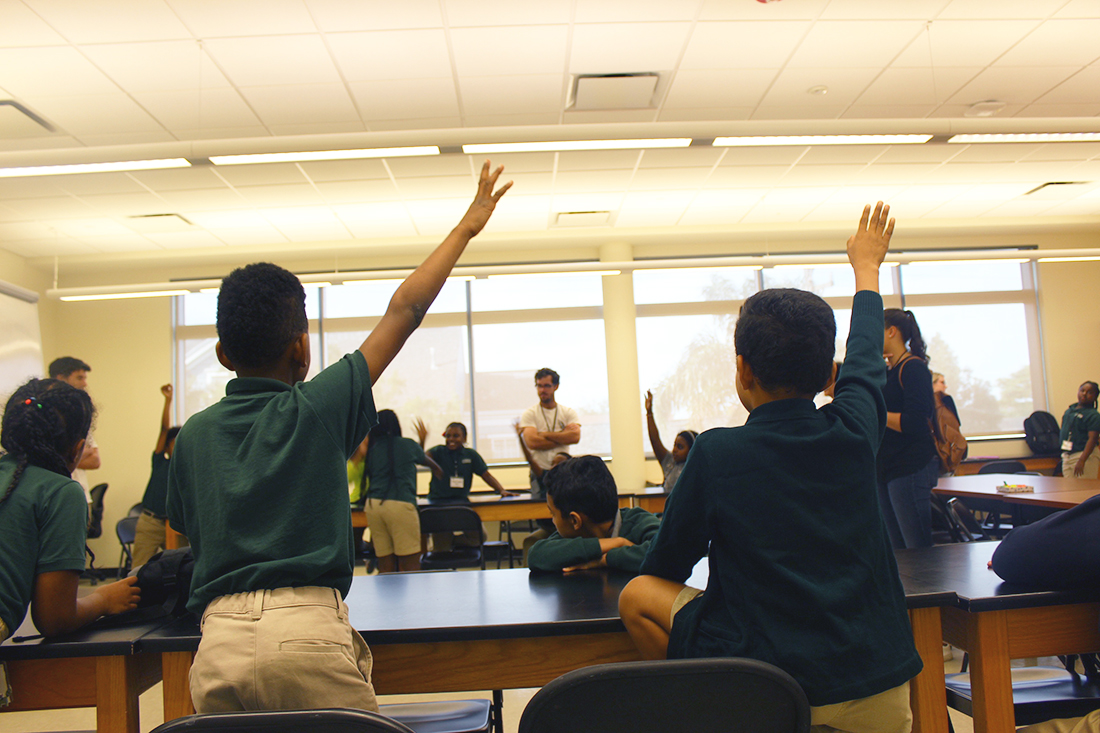 Lawrence D. Crocker College Prep School students participate in Philosophy for Kids, a community outreach program run by Loyola's Philosophy Department, in a classroom at the prep school October 1, 2017, in New Orleans. OANH NGUYEN/Courtesy.