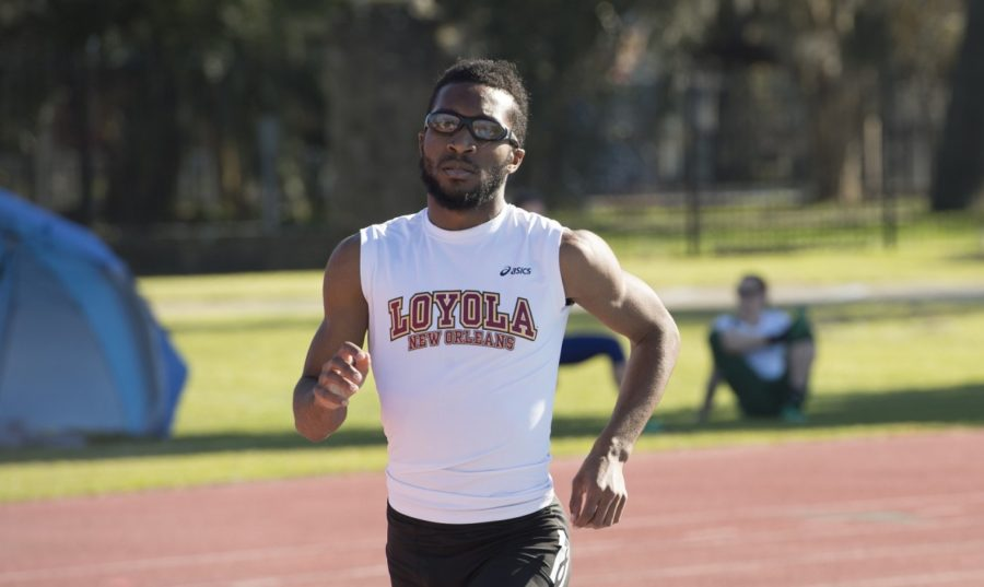 Accounting+and+finance+junior+Brian+Davis+competing+in+the+Carey+Last+Chance+Meet+on+Feb.+17+2018.+The+Loyola+track+teams+earned+two+wins+at+the+meet.+LOYOLA+NEW+ORLEANS+ATHLETICS%2FCourtesy