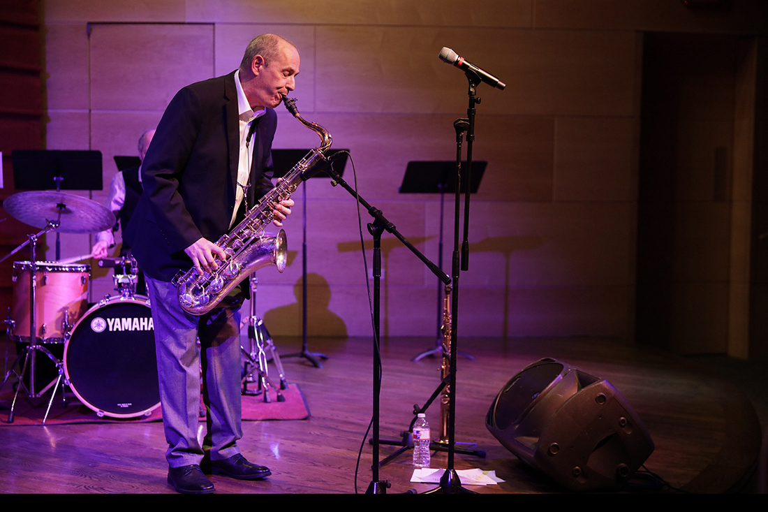 Tony Dagradi plays the saxophone at the concert introducing his recently released album, titled Oneness, Jan. 25 2018. The concert was part of Loyola's Jazz Underground Series.