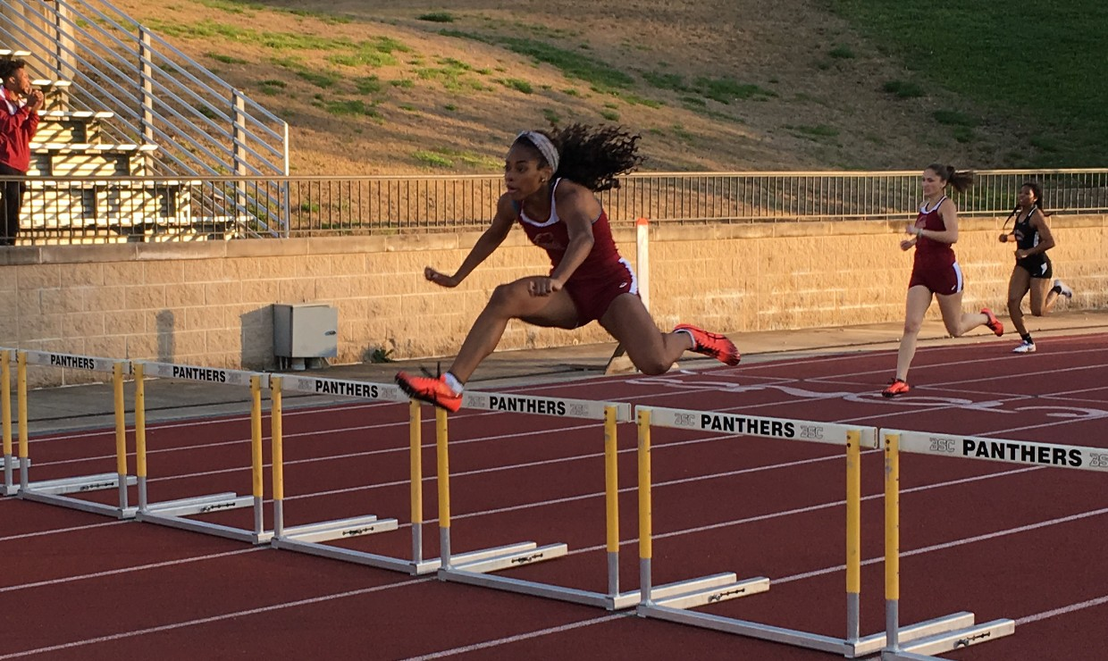 Leah Banks, mass communication junior, competing in the 400-meter hurdles at the Southern Invitational March 9 2018. The Loyola track and field team found success with their freshman athletes. Photo credit: Loyola New Orleans Athletics