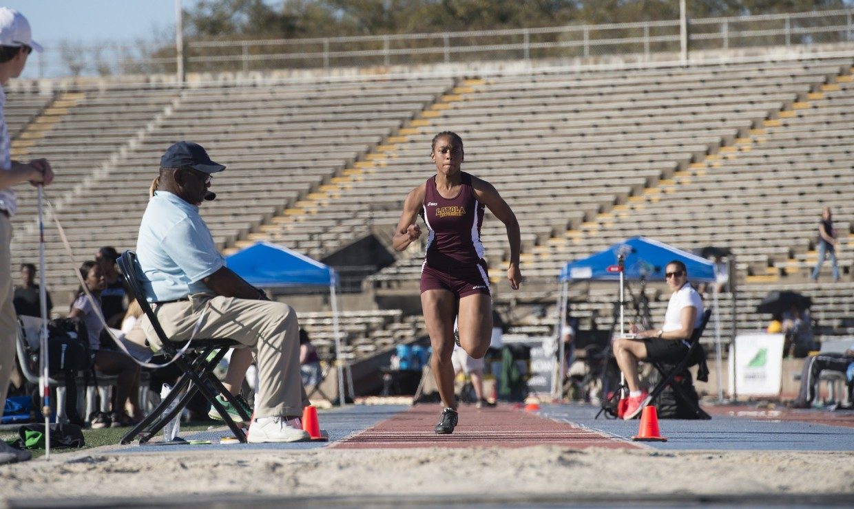 Leah Banks, mass communication junior, competing in the long jump event. Banks finished 23rd overall in the long jump and 12th in the pentathlon at the National Association of Intercollegiate Athletics Indoor Track and Field National Championships. LOYOLA NEW ORLEANS ATHLETICS/Courtesy.