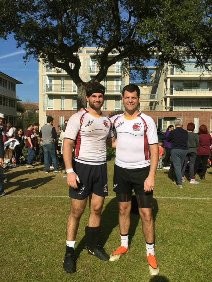 Brothers%2C+Vincent+Duh%C3%A9%2C+history+senior%2C+and+Lester+Duh%C3%A9+III%2C+A%2717%2C+have+played+rugby+together+through+their+time+at+Brother+Martin+High+School+and+Loyola.+Vincent+Duh%C3%A9+is+the+team%27s+captain+in+his+final+year+on+the+team.+Photo+credit%3A+Sonya+Duh%C3%A9