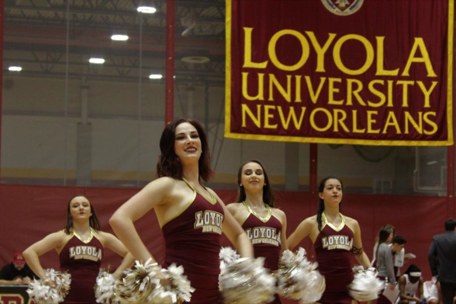 Elisabeth+Cohen%2C+music+industry+studies+sophomore%2C+leads+the+Loyola+dance+team+during+a+halftime+performance+on+Feb.+8+2018.+The+dance+team+has+won+an+at-large+bid+to+compete+in+the+national+tournament.+Photo+credit%3A+Andres+Fuentes