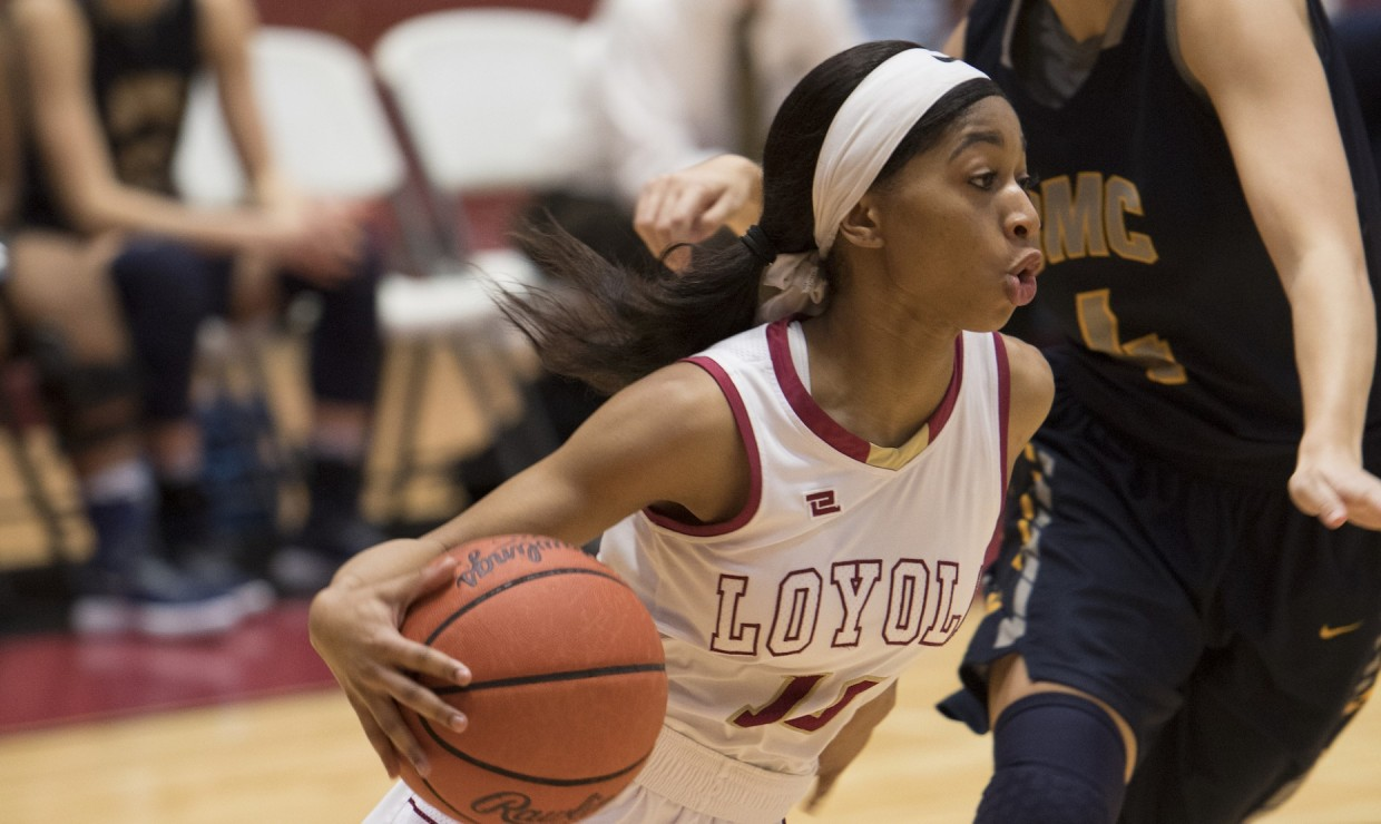 Zoie Miller (10), mass communication senior, scored a team-high 15 points versus Blue Mountain College March 1 2018. The Wolf Pack team advance to the semifinal round of the conference championship. LOYOLA NEW ORLEANS ATHLETICS/Courtesy.