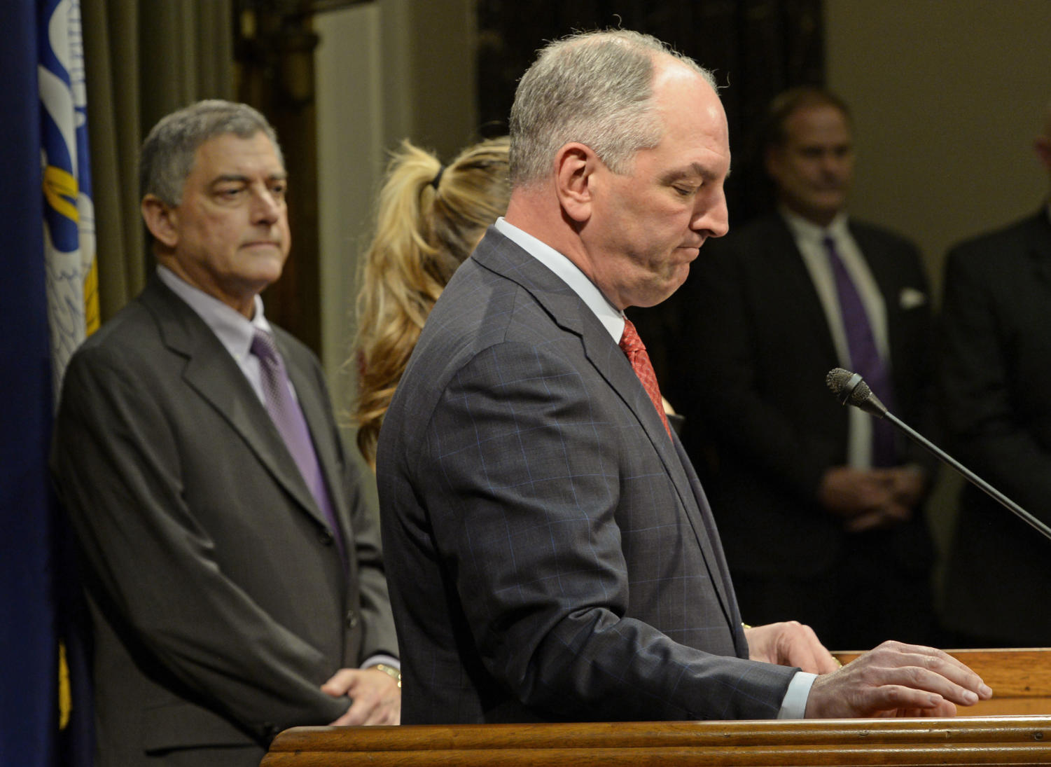 Gov. John Bel Edwards pauses before speaking at a press conference after the legislature adjourned sine die to end the special session to address the state's fiscal crisis Monday, March 5, 2018, in Baton Rouge, La. (Bill Feig/The Advocate via AP)